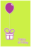 Greeting card with gift box and balloon. In paper cutout style Royalty Free Stock Image