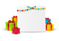 Greeting card. With gift boxes Stock Photography