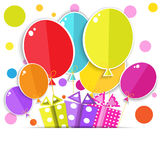 Greeting card with a gift boxes and balloons. Royalty Free Stock Photo