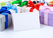 Greeting card with gift boxes Stock Photos