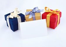 Greeting card with gift boxes Royalty Free Stock Photography