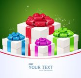 Greeting card of Gift boxes. Stock Photo