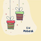 Greeting card with gifts for Eid festival celebration. Royalty Free Stock Photography