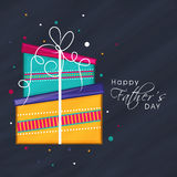 Greeting card with gifts for Happy Fathers Day. Stock Photos
