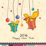 Greeting card with gifts for Happy New Year. Elegant greeting card design with hanging gifts and colorful balls for Happy New Year 2016 celebration royalty free illustration