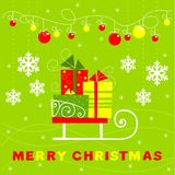 Greeting card with gifts, sledge Royalty Free Stock Images