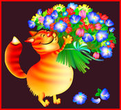 Greeting card with ginger cat with bouquet of flowers. Stock Photo