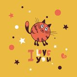Greeting card with giraffe cat. Postcard Valentine's Day cute cat royalty free illustration