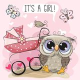 Greeting card it is a girl with baby carriage and Owl. Greeting card it is a girl with baby carriage and Cute Owl Stock Images