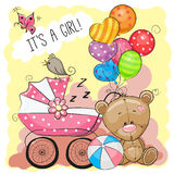 Greeting card it is a girl with baby carriage Stock Images