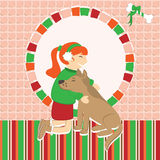 Greeting card with girl caress the dog Royalty Free Stock Image
