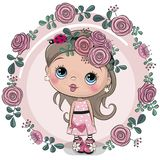 Greeting card Girl with flowers on a pink background royalty free illustration