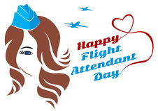 Greeting card girl stewardes. Greeting card. July 12, the world day of flight attendant. Vector illustration for banner, girl stewardess Vector Illustration