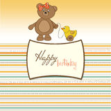 Greeting card with girl teddy bear and he Stock Photography