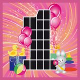 Greeting card for girls birthday.  Stock Image