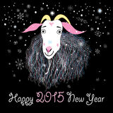 Greeting card with a goat. Christmas greeting card with a goat on a dark background with snowflakes stock illustration