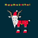 Greeting card with goat. Happy new year greeting card with goat vector illustration