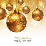 Greeting card with gold Christmas balls. Background with gold Christmas balls. Stock Photos