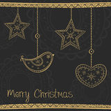 Greeting card with gold Christmas tree decoration Royalty Free Stock Image