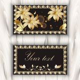 Greeting card with gold 3d flowers and vintage frames. Vector or. Namental floral background. Beautiful modern design. Place for your text stock illustration