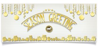 Greeting card with gold lettering decoration Stock Images