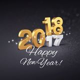Greeting card 2018. Gold 2018 New Year type above 2017 and greetings, on a festive black background - 3D illustration Royalty Free Stock Photos