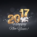 Greeting card 2017. Gold 2017 New Year type over 2016 and greetings, on a festive black background - 3D illustration stock illustration