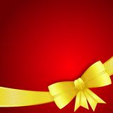 Greeting card with gold silk bow Royalty Free Stock Photos