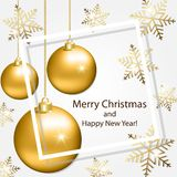 Greeting card with snowflakes and Christmas balls. Greeting card with gold snowflakes and gold Christmas balls royalty free stock image