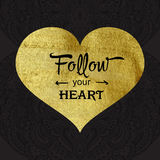 Greeting card with gold texture heart Stock Photos