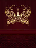 Greeting card with golden butterfly Royalty Free Stock Images