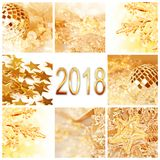 2018, golden christmas ornaments collage square greeting card Royalty Free Stock Photography