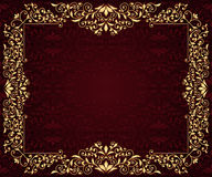 Greeting card with golden frame. In vintage seamless pattern Stock Images