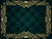 Greeting card with golden frame. On vintage seamless pattern Royalty Free Stock Photo