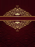 Greeting card with golden frame. In vintge seamless pattern Stock Photos
