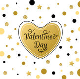 Greeting card with golden heart Royalty Free Stock Photo