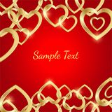 Greeting card with golden hearts on a bright red background royalty free illustration
