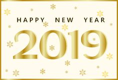 Greeting card with a golden inscription Happy New Year 2019 and golden snowflakes of different shapes and sizes. 2019 New Year`s banner. Vector illustration vector illustration