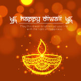 Greeting Card with Golden Oil Lamp for Diwali. Royalty Free Stock Photo