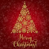 Greeting card with golden text and Abstract Christmas tree on a red background. Glitter phrase Merry Christmas Stock Images
