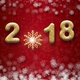 Greeting card with golden text 2018 and big snowflake on a red background. Greeting card with golden text 2018 and big snowflake on a red background Stock Photos