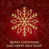 Greeting card with golden text and big snowflake on a red background. Glitter phrase Merry Christmas and happy New year Royalty Free Stock Photos