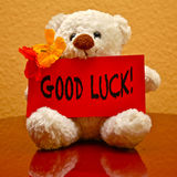 Greeting Card: Good Luck!. Teddy with greeting card wishing: Good Luck stock photography