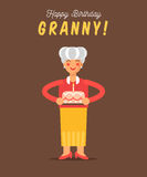 The greeting card for grandmother happy birthday. Royalty Free Stock Photo