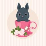 Greeting Card with Grayr Rabbit Stock Photos