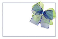 Greeting card with green and blue bow Stock Photos