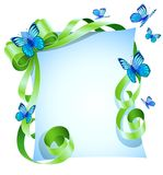 Greeting card with green bow and blue butterfly Royalty Free Stock Image