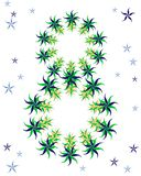 Greeting card with green floral ornament stock illustration