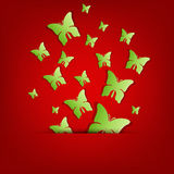 Greeting card with green paper butterflies Royalty Free Stock Image