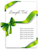 Greeting card with a green ribbon Royalty Free Stock Image
